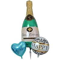 おしゃれな開店のお祝いワインボトルのキラキラバルーンブーケ