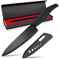 Xenabllo セラミック包丁 ナイフ 180mm 黒刃 三徳包丁 鋭い切れ味 キッチンナイフ 超高密度セラミック 錆…