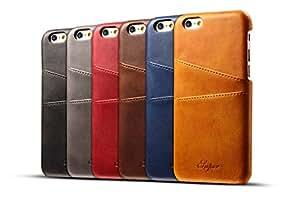 iPhone6S / 6 ケース カード 収納 背面 本革風 Teyissalia アイフォン6S / 6 ケース カード入れ 手作り 薄 軽量 合皮レザー カバー (iPhone6/6S, レッド)