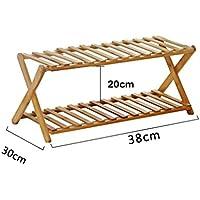 靴ラック2段階折り畳み式シンプルな竹製靴のキャビネットオーガナイザー棚装飾棚(L)38x(D)30x(H)20cm