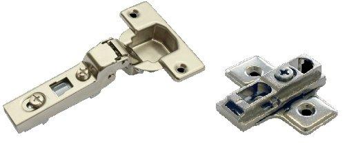 ハーフェレ ニューメタラーヒンジ 開角度105°/半カブセ クランク45/9.5キャッチ無+座金偏芯カムタイプH4mmセット