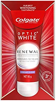 Colgate Optic White Renewal Vibrant Clean Teeth Whitening Toothpaste Enamel Safe Toothpaste 85g