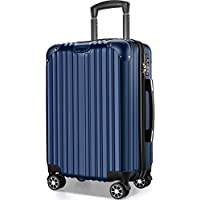 VARNIC スーツケース キャリーバッグ キャリーケース 機内持込 超軽量 大型 静音 ダブルキャスター 耐衝撃 360度回転 TSAローク搭載 ファスナー式 旅行 ビジネス 出張 人気色【永久保証】(7色3サイズ対応) (M サイズ(65L), ブルー)