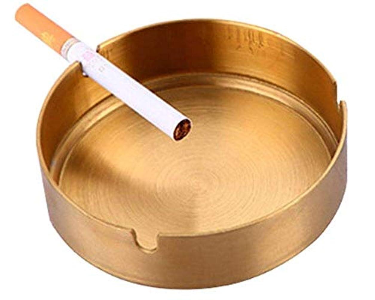 機械ぼろご飯ステンレススチールメタル灰皿、屋外屋内灰皿、灰皿喫煙ホームオフィスデコレーションデスクトップ(ゴールド)