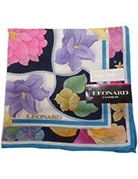 LEONARD [レオナール ]婦人 レディース シルク混ハンカチ ミニ スカーフ マルチフラワー