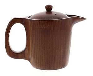 ポット 急須 木製 (天然木) 漆 塗装 茶こし付