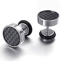 ジュエリーメンズステンレス鋼炭素繊維スタッドイヤリング, 10mm ,ブラックシルバー