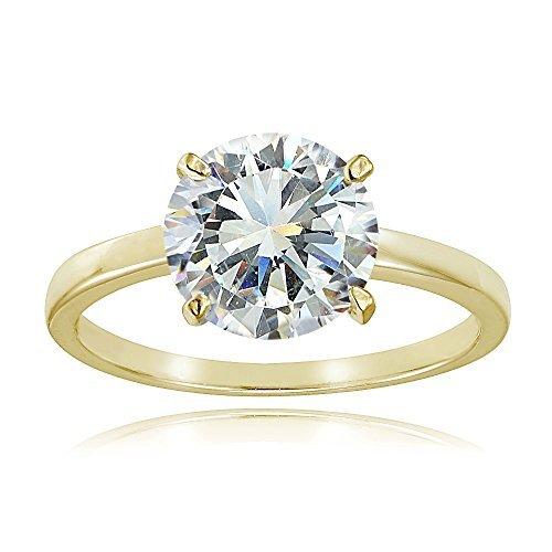 ブライダルリング イエローゴールドフラッシュメッキシルバー キュービックジルコニア ラウンドソリティア 婚約指輪(1~3カラット)