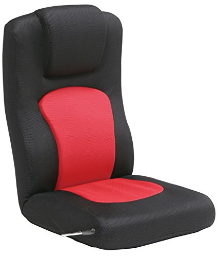 家具の赤や 無段階リクライニング座椅子 腰痛解消ローソファー ランバーサポート座いす (ブラック&レッド)