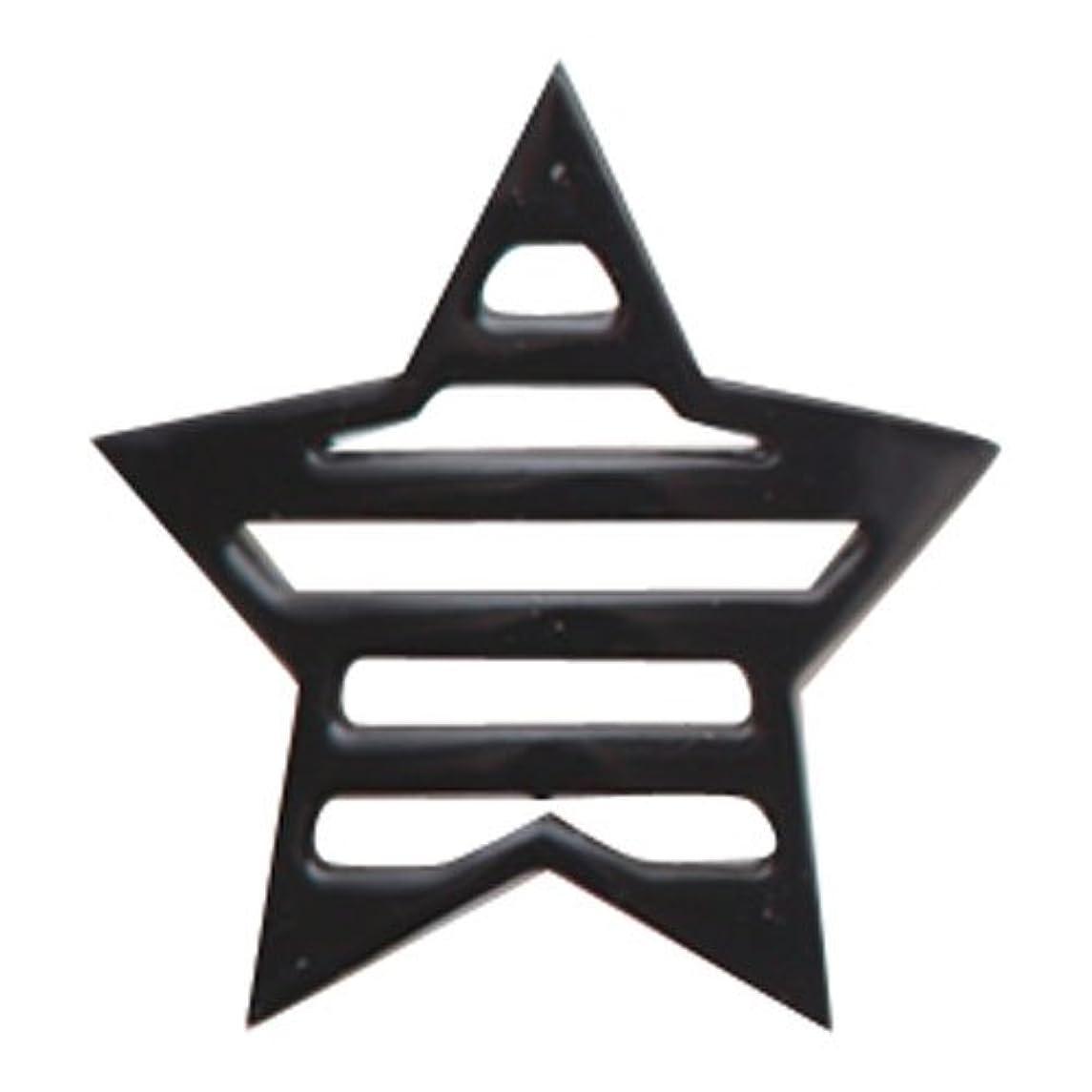 スプーン消費する揺れるリトルプリティー ネイルアートパーツ 星ボーダー L ブラック 10個