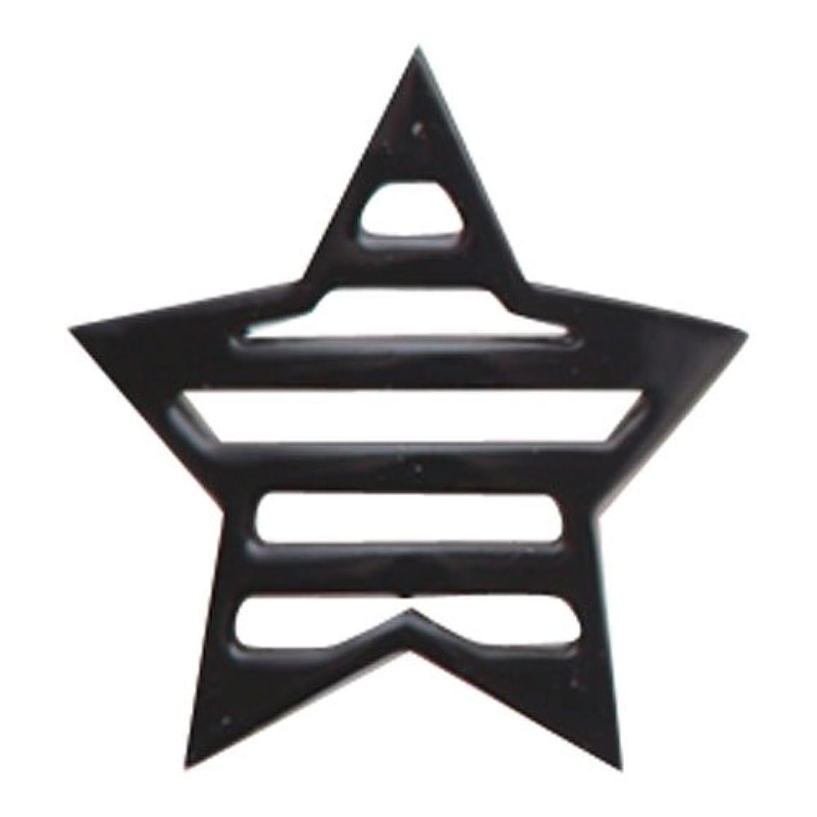 実用的露地域のリトルプリティー ネイルアートパーツ 星ボーダー L ブラック 10個