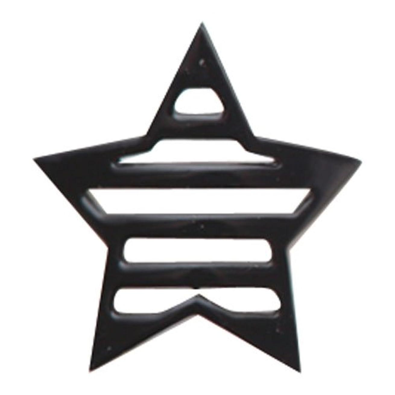 依存研磨性能リトルプリティー ネイルアートパーツ 星ボーダー L ブラック 10個