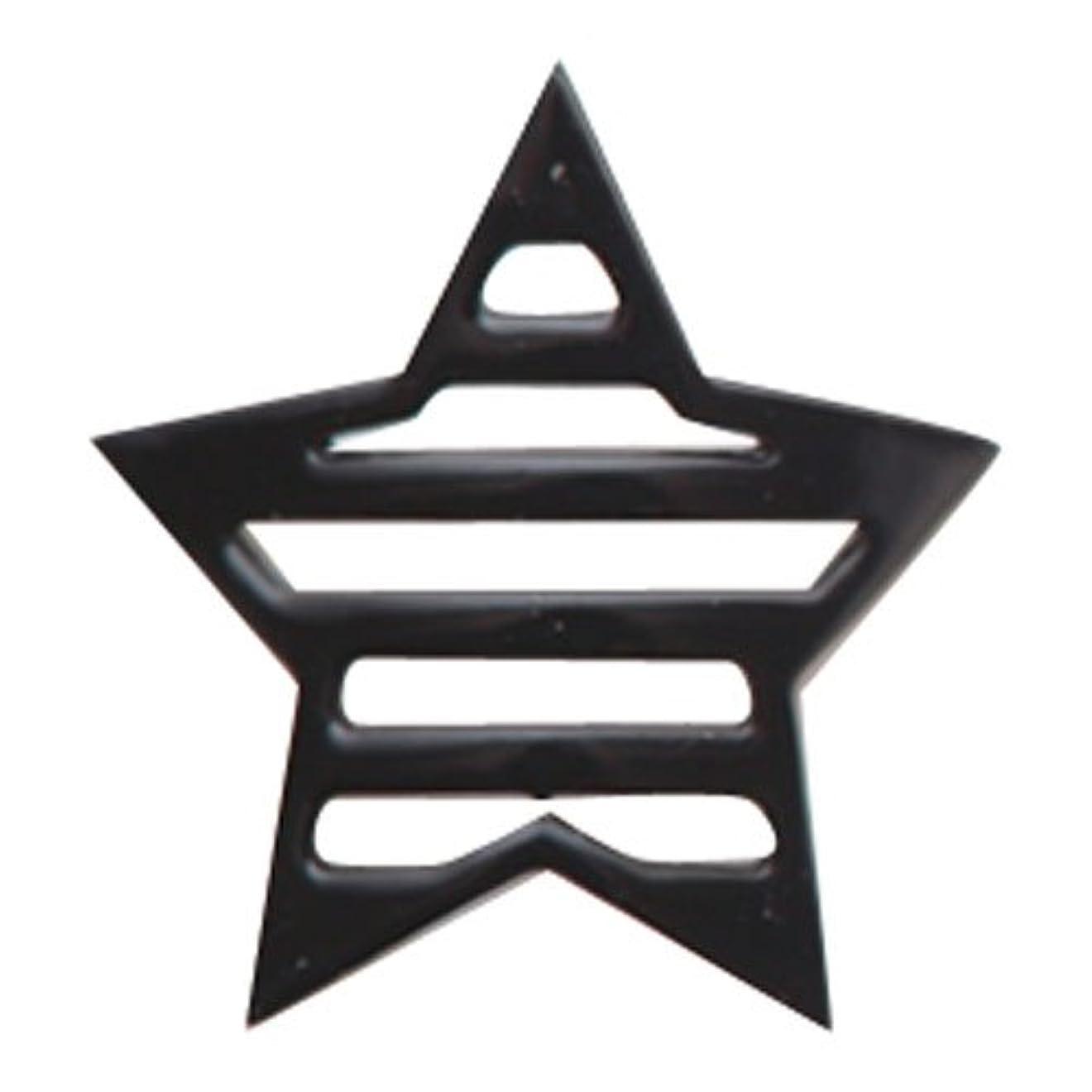 ポケット夜と闘うリトルプリティー ネイルアートパーツ 星ボーダー L ブラック 10個