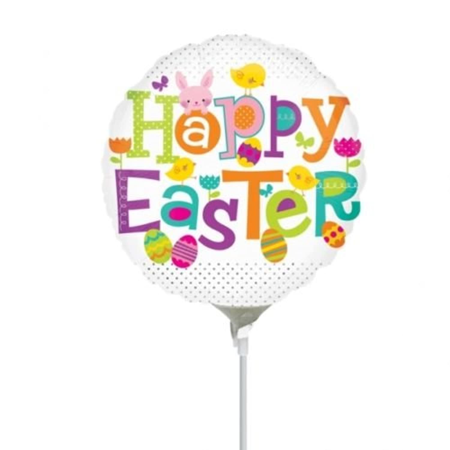 Anagram Happy Easter Dots Mini箔バルーンon Sticks ( 3パック)