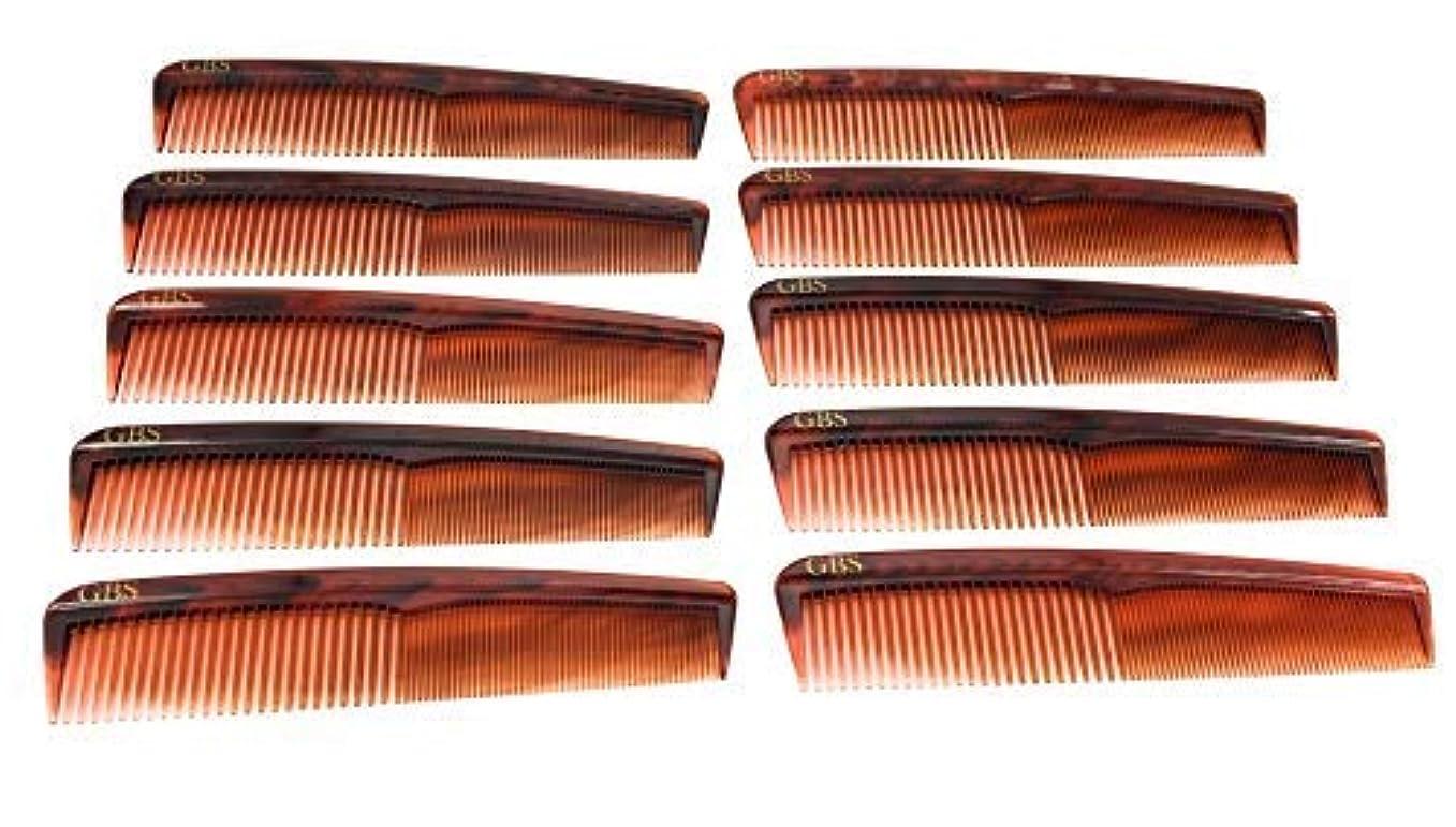 糸ミンチコンチネンタルGBS Professional Handmade Grooming Combs - Tortoise Course/Fine Styling Combs - 10 Pack! [並行輸入品]
