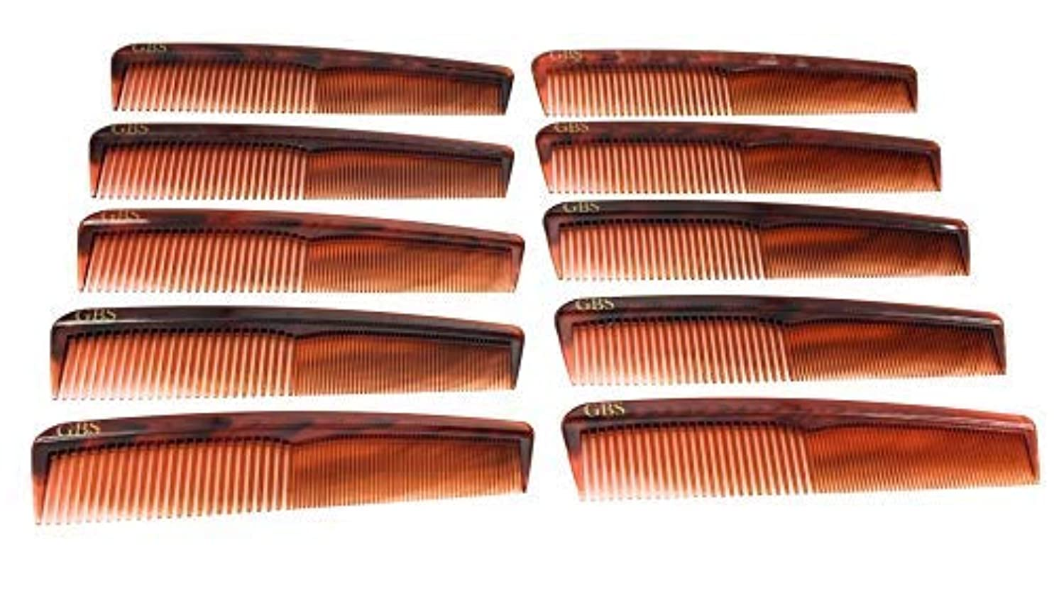 GBS Professional Handmade Grooming Combs - Tortoise Course/Fine Styling Combs - 10 Pack! [並行輸入品]