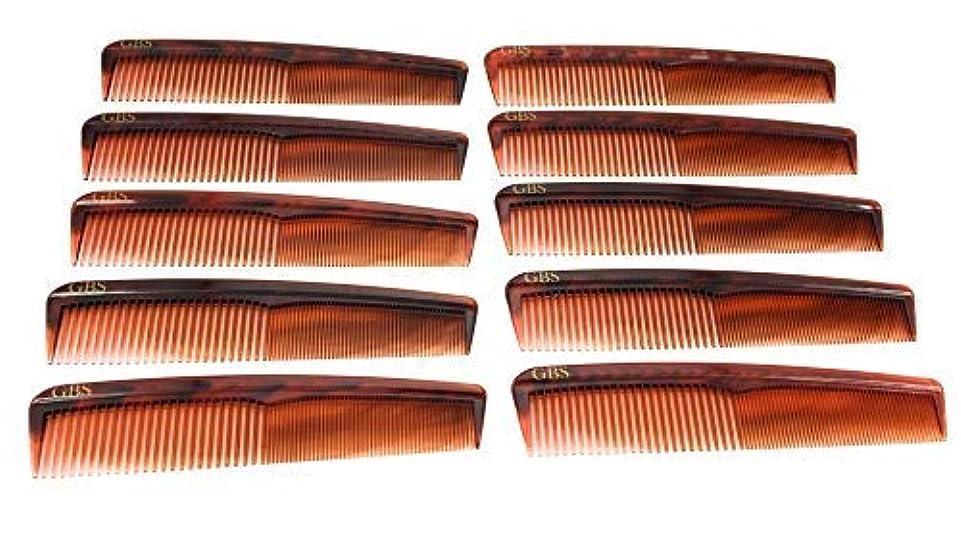 ロータリーギャザー小売GBS Professional Handmade Grooming Combs - Tortoise Course/Fine Styling Combs - 10 Pack! [並行輸入品]