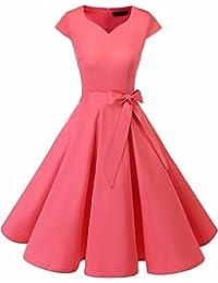 Dresstell(ドレステル) スイングワンピース カップ袖 Vネック 50年代 ウィンテージ お呼ばれ 結婚式 フォーマルドレス レディース