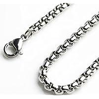 「silverKYASYA」ステンレス素材 ロールチェーン メンズ ネックレスチェーン シルバー 色 ステンレスチェーン ロール (幅3.5mm長さ60cm)