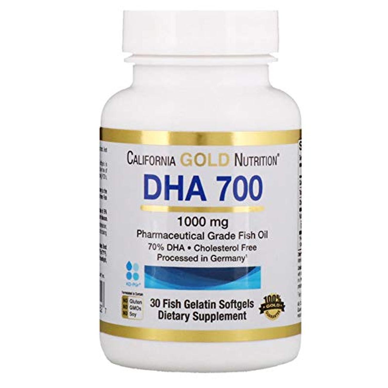 ジャンルタイルもつれCalifornia Gold Nutrition DHA 700 フィッシュオイル 医薬品グレード 1000 mg 魚ゼラチンソフトジェル 30個 【アメリカ直送】