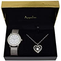 Appolus for Women Mom Girlfriend Wife Birthday Gift Watch Necklace Engraved Set