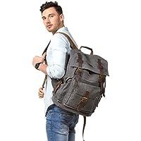 Kattee Men's Leather Canvas Backpack Large Travel School Bag