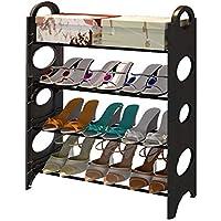 靴箱_8層24寮ダブルシンプルシューズラック、家庭用収納靴キャビネット、取り外し可能なブーツのレイヤー、黒