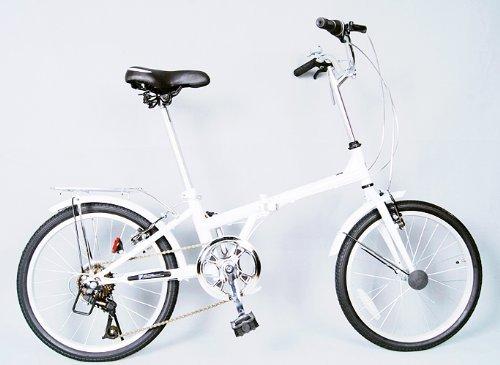 SHINE WOOD(シャインウッド)20インチシマノ6段折りたたみ自転車【LED/コイルワイヤー錠/前後フェンダー/PL保険】(ブラック&ホワイト)(MY)