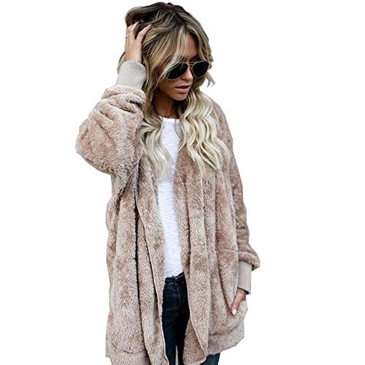 終了しました転用通り抜けるMIFAN 長袖パーカー、冬のコート、女性のコート、女性の緩い厚く暖かいフェイクファーフード付きカーディガン