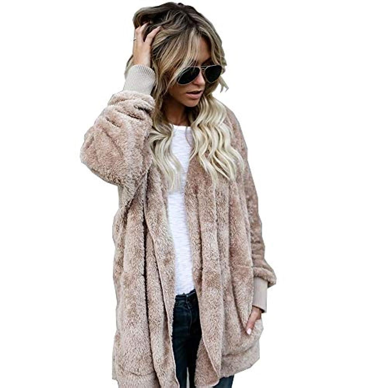 記録マントル側MIFAN 長袖パーカー、冬のコート、女性のコート、女性の緩い厚く暖かいフェイクファーフード付きカーディガン