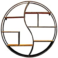 QING MEI ラウンドウォールシェルフブックシェルフ収納用リビングルームベッドルームウォールラックフローティングパーティション壁装飾フレームユニットフレームシェルフ個性リビングルームの吊り直径60 / 80CM (サイズ さいず : 80.5cm)