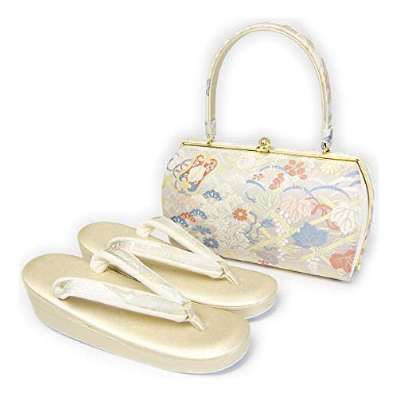 草履バッグセット 紗織 白色系正絹西陣帯生地バッグ?金色レザー草履 フォーマル用 Lサイズ 和装小物