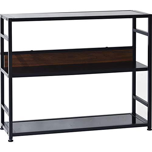 ワイエムワールド コンソールテーブル ガラス天板 ブラック 棚 収納 幅90 ミネア 00-226
