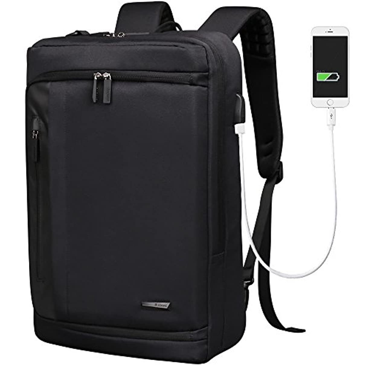 時間とともに一過性多用途[Aoking] 3WAY タイプ 四角 USBポート 充電 大きい リュック 旅行 便利 男 通学通勤 防水 パソコン PC バック パック (ブラック)