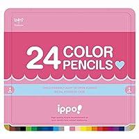 トンボ鉛筆 色鉛筆 ippo! スライド缶入 24色 プレーン Pink CL-RPW0424C
