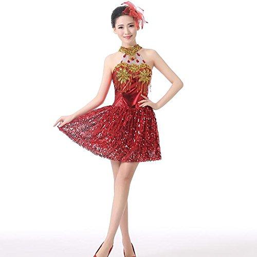 ecafc697718f9 ワンピース ダンス衣装 ダンス レディース ホルターネック ラテン ステージ衣装 スパンコール 衣装 舞台 社交ダンス 大きいサイズ