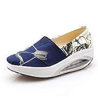 [Mashiaoyi] [マシアオイ] レディース カジュアル プラットフォーム ウェッジ キャンバス 靴 23.0cm ダーク ブルー