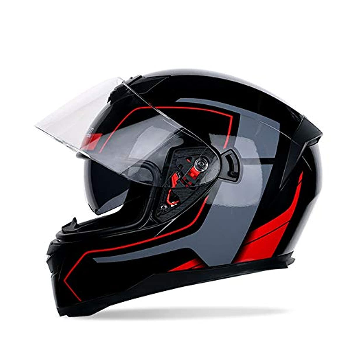 誓い予見する性格安全性 透明レンズオートバイヘルメットオープンマスクダブルレンズ男性と女性の電気自動車四季オートバイヘルメットヘルメットブラック/ブルー/レッド/マットブラック (色 : Red, Size : M)