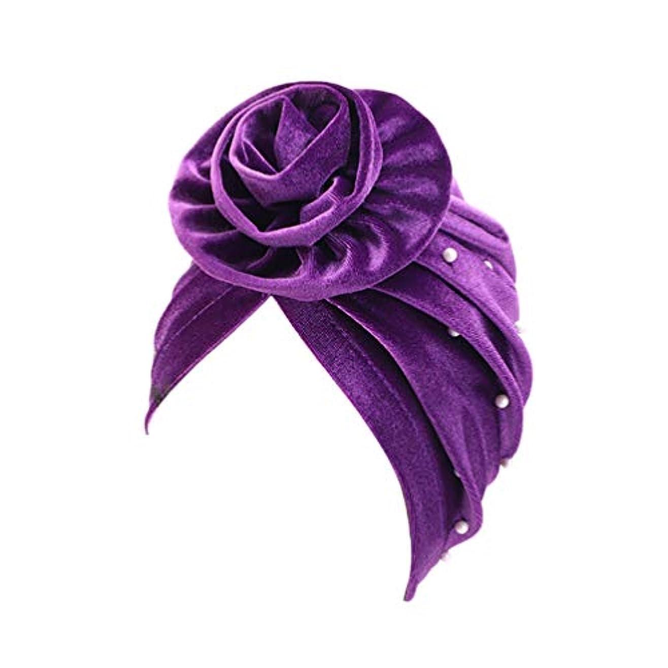 武器ウェイトレスリサイクルするHealifty 睡眠ナイトキャップ花の装飾ワイドバンドボンネットナイトヘッドカバーソフトヘアターバン女性用ヘアビューティーヘアケアキャップ(パープル)