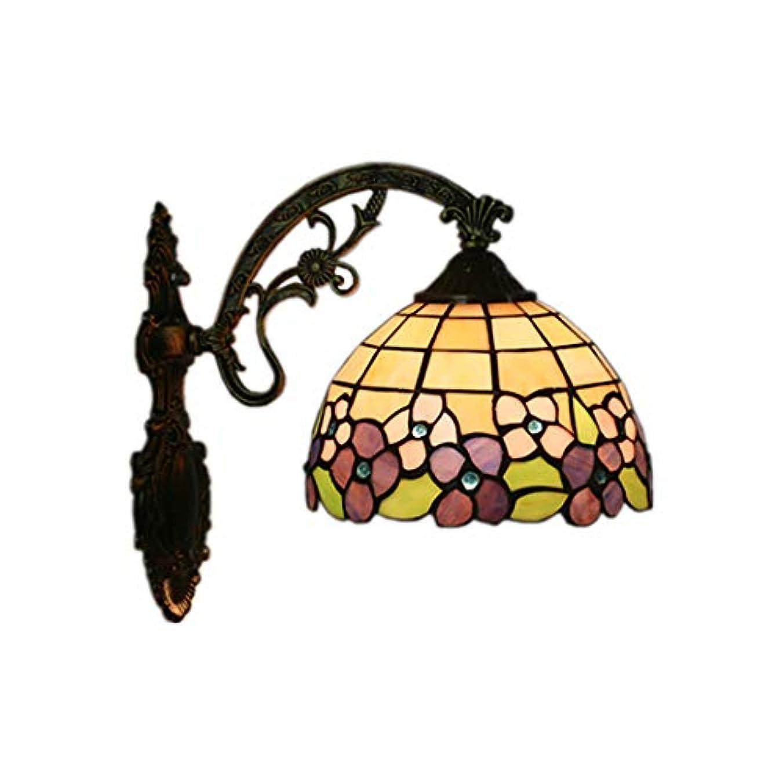 リスくぼみ弁護人8インチティファニースタイルウォールランプヴィンテージ色梅クリスタルビーズランプシェードアンティーク亜鉛ベースリビングルームの寝室の照明、E27の装飾