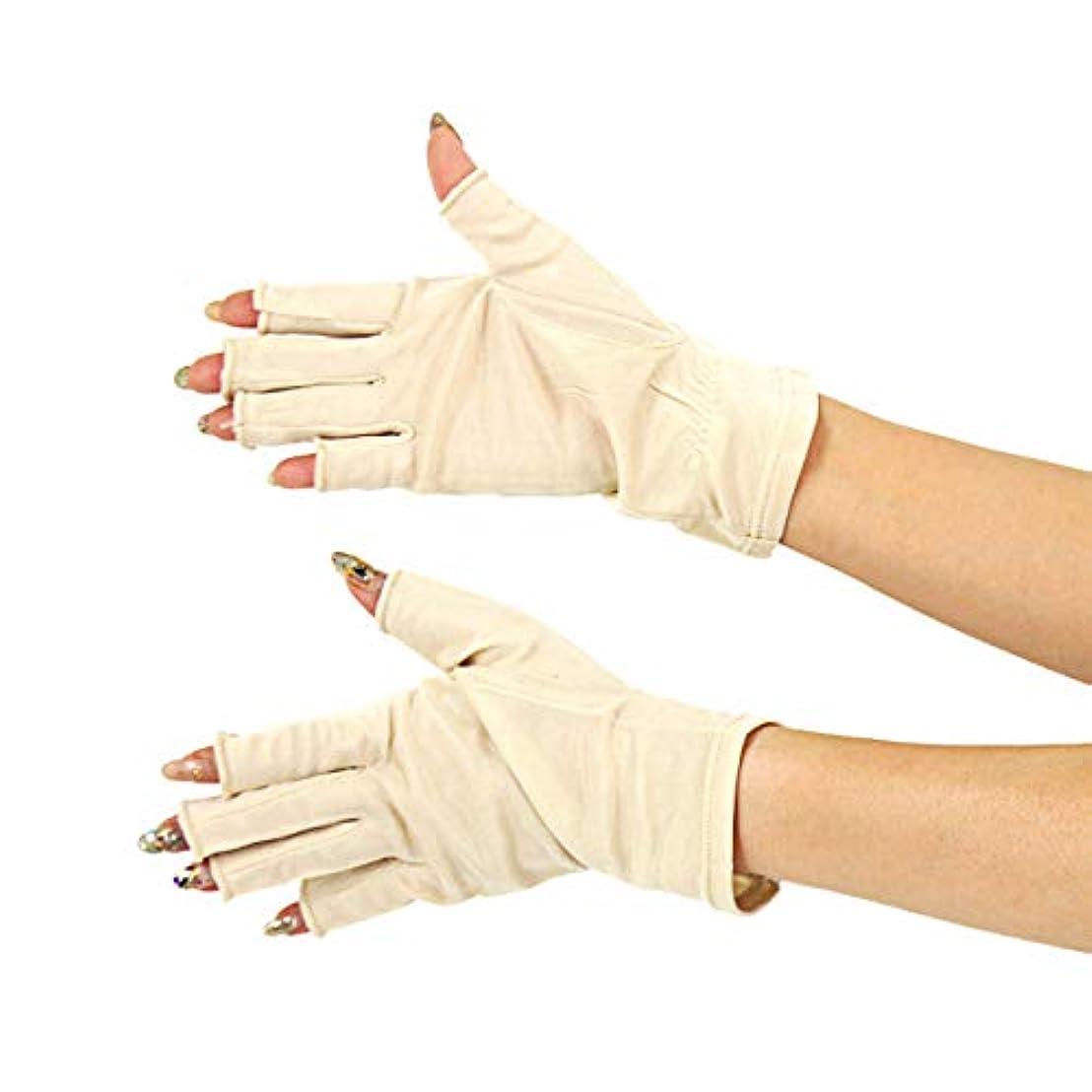 署名トランペットアブストラクト[スリーピングシープ] ひんやり サラサラ シルク100% UV 手袋 ハンドケア UV 手袋 手のお手入れに (M, 指切りベージュ)