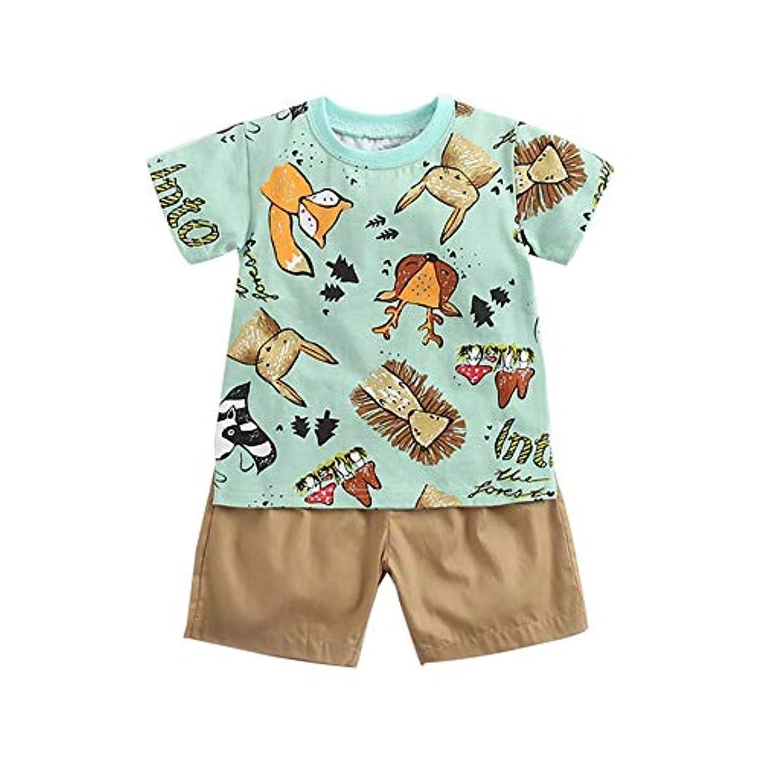 まっすぐにする発生器しみRad子供 夏の子供男の子男の子カジュアル半袖漫画プリントTシャツトップス+ショートコスチュームセット