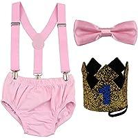 GUCHOL Baby First Birthday Cake Smash Outfit Crown Hat Suspender Bowtie Shorts Clothes Set