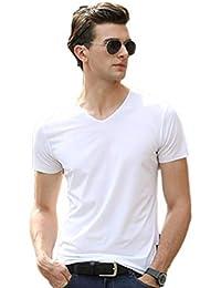 [ディアアンナ] 接触冷感 冷たい 肌着 シームレス メンズ vネック シャツ 半袖 インナーシャツ クールビズ 大きいサイズ カットオフ加工 切りっぱなし 白 黒 グレー L~XXXL