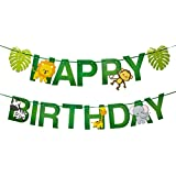 BESTOYARD ハッピーバースデー バナー 誕生日パーティー 装飾 クリエイティブ 動物 装飾バナー (グリーン)