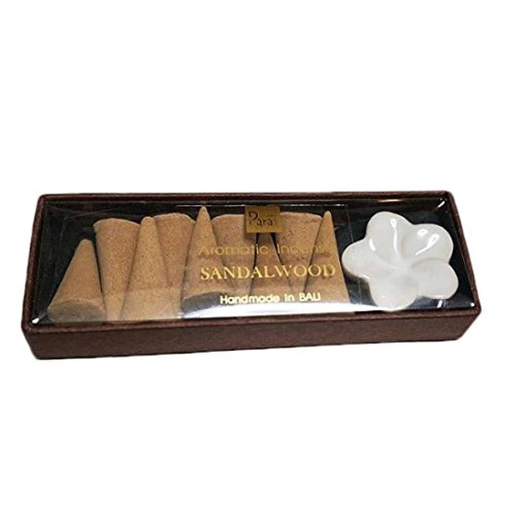慢なデジタル傾向がありますサンダルウッド お香セット【トコパラス TOKO PARAS】バリ島 フランジパニの陶器のお香立て付き ナチュラルハンドメイドのお香