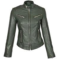 HOL Ladies Genuine Leather Biker Style Slim fit Casual Jacket Khloe Green