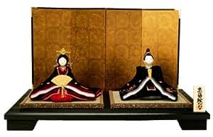 伝統ある会津蒔絵の技術 『京蒔絵雛(大)座雛 黒桜』 お雛様/雛人形