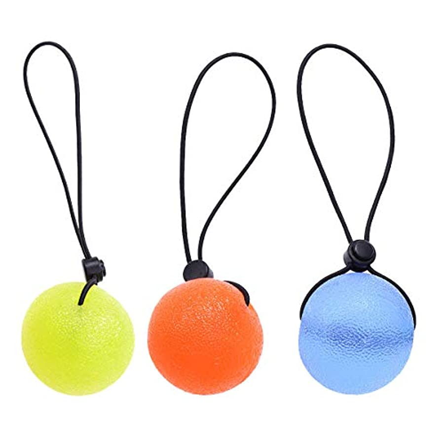 望まない知るコンピューターを使用するHEALIFTY ストレスリリーフボール、3本の指グリップボールセラピーエクササイズスクイズ卵ストレスボールストリングフィットネス機器(ランダムカラー)