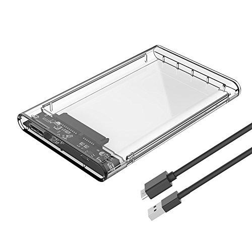 ELUTENG 外付けハードディスク 2.5インチ SSD | HDD ケース USB 3.0 5Gbps 高速 SATA 3 透明 UASP対応 ssd ポータブル クリア かっこいい ドライブ 中身見れる ボックス 2TBまで